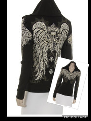 Jacket, Hoodie Angel Wing Bling Bling