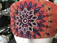 Bandana, Tie Dye Burst Purple with Fire Purple Rhinestones FREE SHIPPING