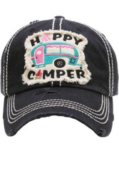 Cap, Baseball Happy Camper Black, Backside Embroidery