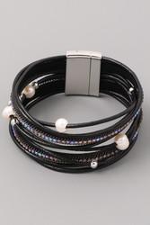 Bracelet, Rhinestone Pearl Black