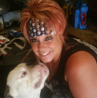 Bandana, American Flag, Go Brazen Bombshell with over 270 Swarovski crystals.  This bling bandana is American made.