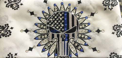 Thin blue line punisher skull patch on a white bandana  loaded with  Swarovski crystals. Check out all the skull bandanas that  Go Brazen has on line or swing on by their store in Red Wing, Minnesota