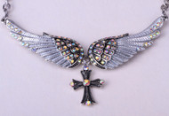 Necklace, angel wing rhinestone.  You will love it paired up with the matching earrings and bracelet!  Go Brazen stocks this in pink, purple and blue.