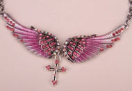 Necklace, angel wing necklace with rhinestones.  Pair it up with the matching bandana or the earrings, rings or bracelet.  Great gift idea.  Go Brazen stocks clear, purple and blue in this style as well!
