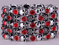 Bracelet, stretch skull with red rhinestones, you will love the dazzling red rhinestones. Go Brazen stocks lots of skull fashion, small to plus sizes as well.