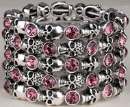 Bracelet, skull stretch with pink rhinestones.  Go Brazen stocks this in clear, black, red and more.  Check out all their skull fashions, small to plus size as well.