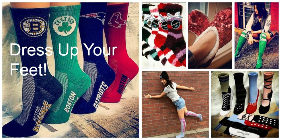 fun socks, Boston ream socks, Snoozies slippers, slipper socks