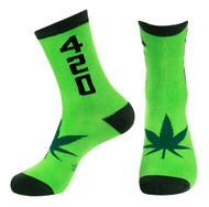 420 Pot Leaf One Size Unisex Athletic Socks by Gumball Poodle in Green