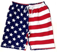 American Flag Fleece Shorts by Exist with pockets and drawstring waist. Front View.