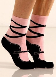Black and pink ballet slipper socks by Foot Traffic