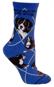 Bernese Mountain Dog Socks on Blue by Wheel House Designs