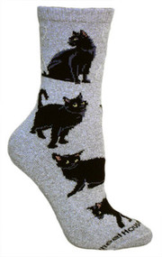 Black Cat Socks on Gray by Wheel House Designs