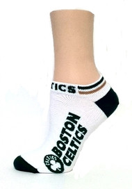 Boston Celtics Ankle Socks  in white by For Bare Feet Size Medium