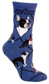 Boston Terrier Socks in Blue by Wheel House Designs