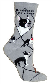 Boston Terrier socks by Wheel House Designs on Gray