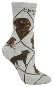 Chocolate Lab Socks in Gray by Wheel House Designs