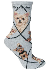 Yorkshire Terrier Socks in Gray by Wheel House Designs