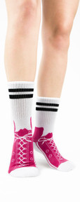 Hot Pink Sneaker Slipper Socks by Foot Traffic