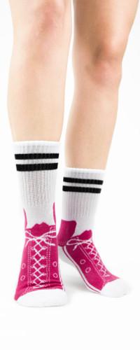Hot Pink Sneaker Slipper Socks by Foot Traffic