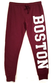 Boston joggers in maroon and white