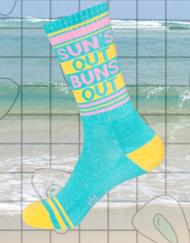 Sun's Out Buns Out gym socks by Gumball Poodle