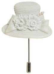 Dressed in White Hat Pin - Harriet Rosebud
