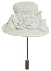 Dressed in White Hat Pin - Harriet Rosebud