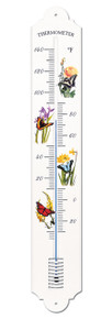 French Enamel Style Wall Thermometer Butterfly Design Hokco