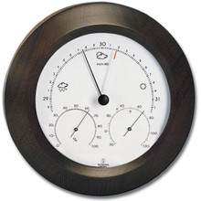 Analog Weather Station 8 inch Round Solid Wood Walnut Finish Barometer Hygrometer Thermometer Hokco