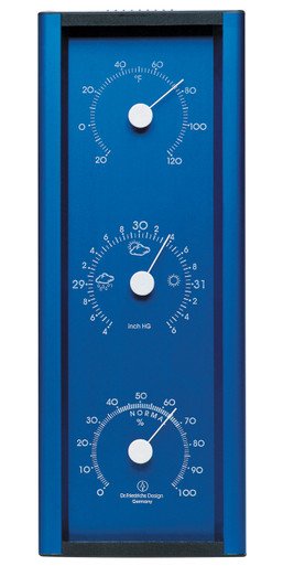 Analog Weather Station Aluminum Medium Electric Blue Barometer Hygrometer Thermometer Hokco