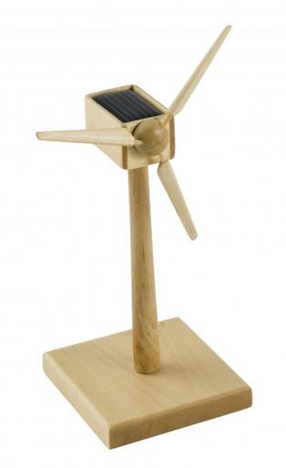 Solar Powered Wind Turbine Desktop Model Wood 6 inch