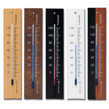 Analog Wall Thermometer Beechwood Natural Walnut Black White Finish Hokco