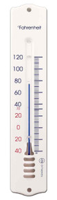 Analog Wall Thermometer White Polyurethane Coated Steel 8 inch by Hokco