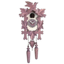 Design Collection Quartz Cuckoo Clock, mauve/white