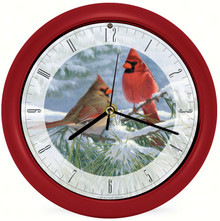 Winter Light Cardinal 8 Clock by Artist Marc Hanson