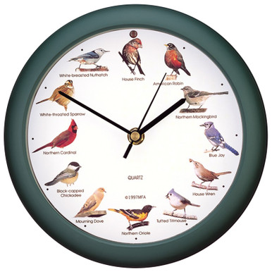 Original Singing Bird Clock Green 8 inch by Mark Feldstein