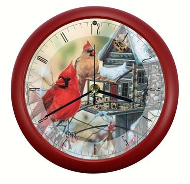 Rustic Cardinals 8 inch Sound Clock by Artist Janene Grende  Wild Wings