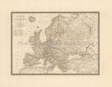 European Continent Antique Map Brue 1827