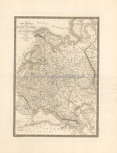 Russia Poland Antique Map Brue 1827