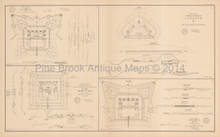 Plans Of Forts Batteries Mobile 1 Civil War Antique Map 1895
