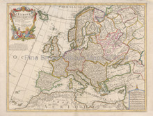 European Continent Antique Map DeLisle 1700