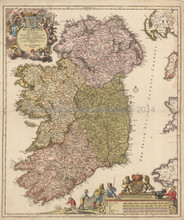 Ireland Antique Map Homann 1725