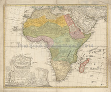 African Continent Antique Map Homann Heirs 1760