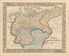 Prussia Germany Antique Map Mitchell 1863