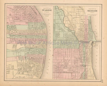 St. Louis Chicago Antique Map Colton 1858