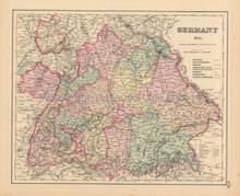 Southern Germany Antique Map Colton 1858