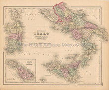 Southern Italy Antique Map Colton 1858