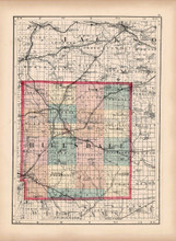 Hillsdale Lenawee County Michigan Antique Map Walling 1873
