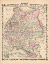 Russia Antique Map Johnson 1861