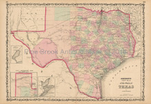 Texas State Antique Map Johnson 1861